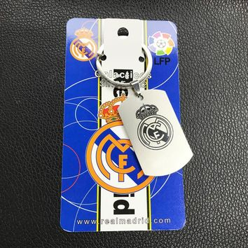 New Creative Fans Gift Soccer Stainless Steel Key Chain Real Madrid Barcelona Ronaldo Messi Key Pendant