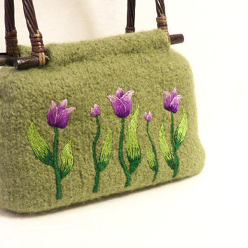 Knitted Felted Bag  Lime green purse with tulip by MuffinTopKnits