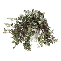 SheilaShrubs.com: Wandering Jew w/Metal Planter Silk Plant 6697 by Nearly Natural : Artificial Flowers & Plants