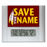 Washington Redskins Save The Name Digital Wall Desk Clock with temperature + alarm