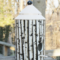 Birch Tree Birdhouse by Bird Feeder Guy. Wrapped Design. Great Piece of Garden Art or Home Decor