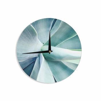 Succulant - Green Teal Nature Photography Wall Clock