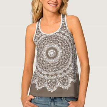 Taupe Lace Pattern Racerback Tank Top
