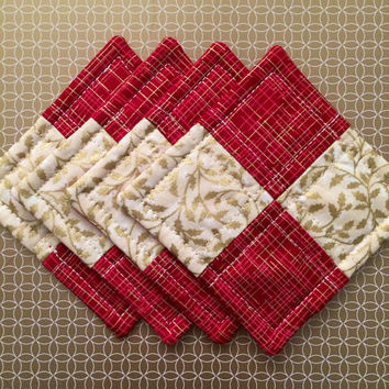 Quilted Coaster Set - Party Gift - Gold Christmas Coasters - Holiday Coasters  - Christmas Mug Rugs - Hostess Gift Set