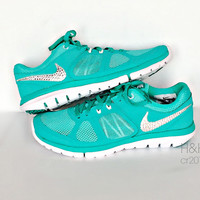 Women's Nike Flex Run 2014 RN in Hyper Jade/Metallic Platinum/Hyper Turquoise with Swarovski crystal details