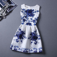 WAQIA new fashion women dresses tops blouse Printed sleeveless vest dress = 1828188164