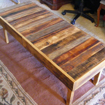 "Rustic Reclaimed Wood Coffee Table or Bench 48x18x17"" high Use Outdoors or Indoors"