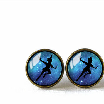 Glass Dome Stud Earrings, Peter Pan, A-249