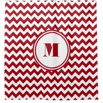 Red And White Chevron Pattern With Monogram Shower Curtain