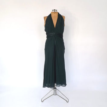 Vintage 90s does 1930s 1940s Green Silk Art Deco Dress Old Hollywood Femme Fatale Noir Long Bias Cut Prom Gown Flapper Gatsby Dress