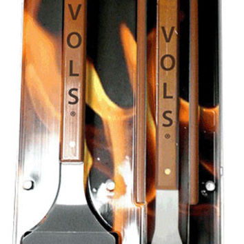 NCAA Tennessee Volunteers Grill Set sportula, tongs & fork stainless steel wood