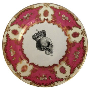 "Stunning Pink and Gold Coalport  Skull Dinner Plate, 11"" (available without decal)"