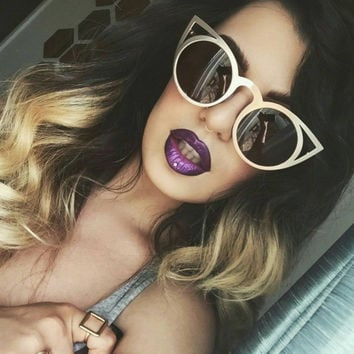 Oversized Gold Metal Round Cat Eye Sunglasses, Big Pointy Cateye Glasses - Selena