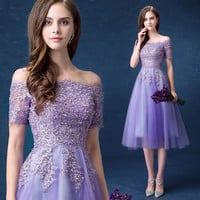 Elegant Vestidos De Festa Purple Tulle Cocktail Dress Plus Size Special Dresses Applique Beaded Tea-Length Party Gowns D16
