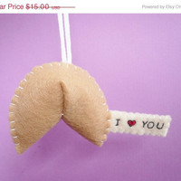 Christmas in July 20% OFF I heart you Fortune Cookie ornament