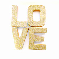Gold Glitter Love Letters - Glitter Letters, Custom Ornament Letters,  Wedding decor, Freestanding Letters, Paper Mache Letters