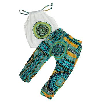 Bohemian Baby Summer Kids Clothing Set Harness T-shirt+Long Pants Beach Outfits