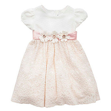 Rare Editions 12-24 Months Textured Lace Dress - White