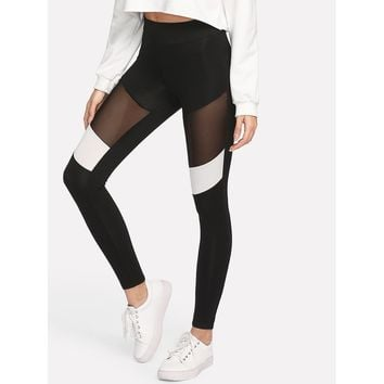 Two Tone Mesh Insert Leggings Black