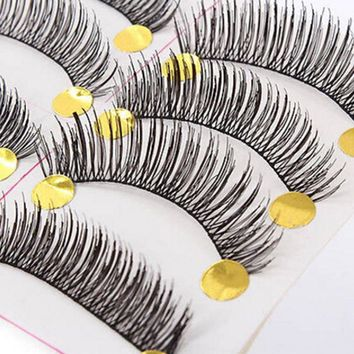 10 Pairs Cosmetic False Upper Handmade Soft Cross Long Curl False Eyelashes Natural Fake Eye Lashes Useful Makeup Tools