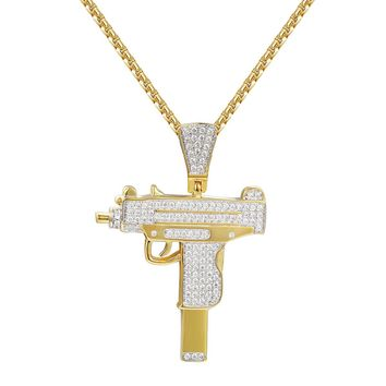 Hand Gun Pistol 14k Gold Finish Iced Out Pendant Necklace