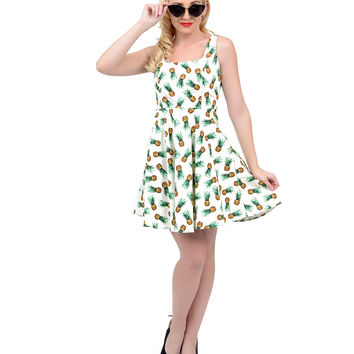 Ivory & Yellow Sleeveless Pineapple Print Fit N Flare Dress