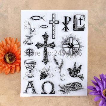 Cross Bible Candle Grape Bird Scrapbook DIY photo cards account rubber stamp clear stamp transparent stamp 14x18cm 7051602