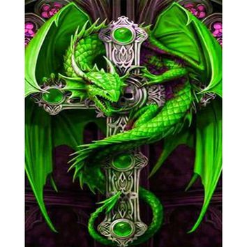 5D Diy Diamond Painting,Green Dragon on The Cross,Picture By Rhinestones,Square,Daimond Painting On Canvas,Diamond Paintings