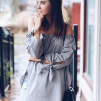 Long Sleeve Off The Shoulder Knotted Blouse [6221972356]