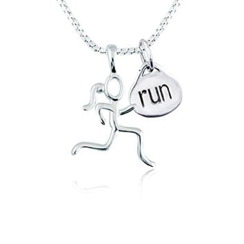 """Sterling Silver Stick Figure Runner and Run Charm Necklace 