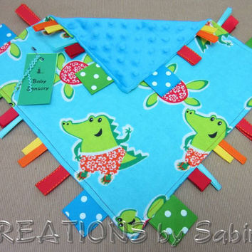 Baby Ribbon Sensory Blanket Toy, Security Blanket Blankie, Boy, Blue Turquoise Green Red Orange, Turtle Dino Aligator READY TO SHIP 104