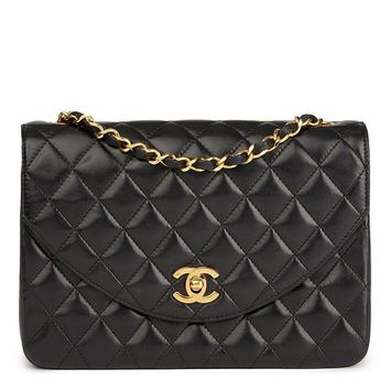 CHANEL BLACK QUILTED LAMBSKIN VINTAGE CLASSIC SINGLE FLAP BAG HB1666
