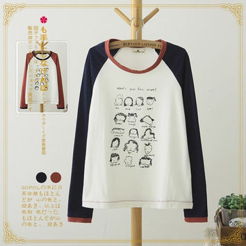 Fashion Cartoons Round-neck Embroidery Casual Cotton Long Sleeve T-shirts [6047588929]