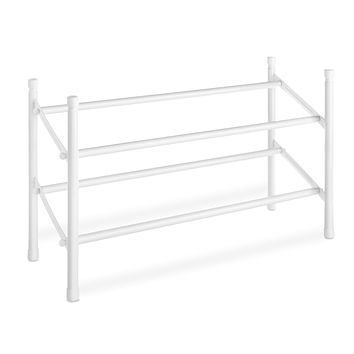 2-Tier Stackable Shoe Rack Organizer Storage Shelves in White