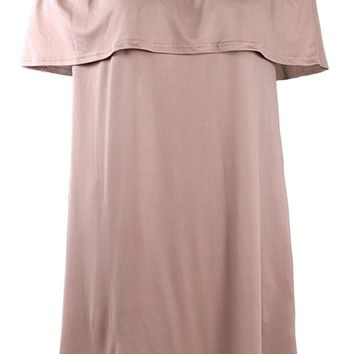 Streetstyle  Casual Casual Loose Off Shoulder Flounce Solid Shift Dress