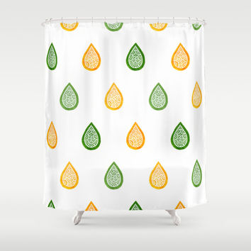 Yellow and green raindrops Shower Curtain by Savousepate
