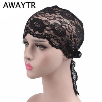 AWAYTR 2018 Spring Muslim Bandanas Fashion Headwrap Scarf Black Red Lace Headband Turban for Women Hat Hair Accessories