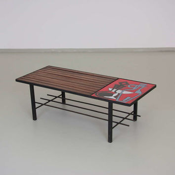 1950s French Wire Coffee Table with a Ceramic Tile by Jean Cloutier