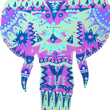 Tribal Elephant Art Print by kelsey flones