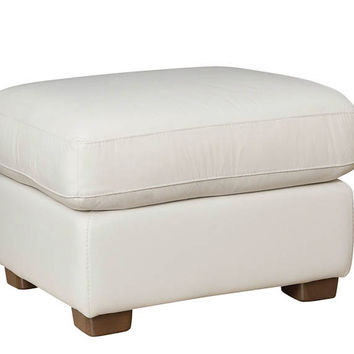 Color Customizable Leather Ottoman Velino by Natuzzi Editions