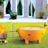 ALFI Brand Yellow Round Fiberglass Portable Outdoor Hot Tub