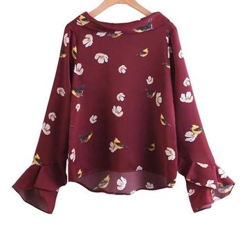 New Autumn Women Tops Ruffles Flare Sleeve Shirts Peter Pan Collar Floral Printed Casual Blouse