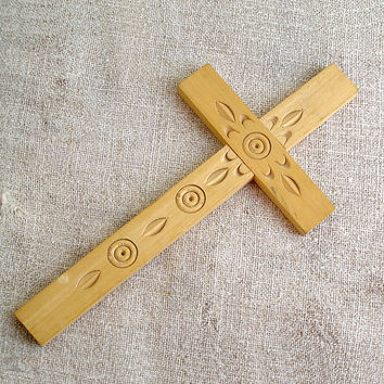 vintage Hand carved cross, wooden crucifix, wood crucifix, religion, vintage, Home Decor, Wall Hanging, Handmade, Folk, Rustic, My wealth