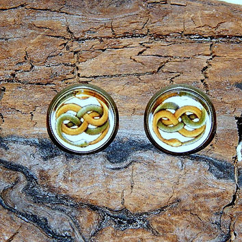 Neverending Story Auryn earrings cufflinks, Neverending Story amulet, Neverending Story simbol, Auryn earrings cufflinks, snake earrings