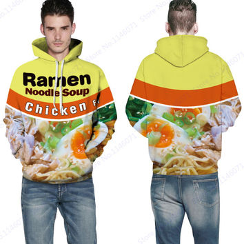Ramen Noodle Soup Hooded Sweatshirt Jacket Chicken Letter Skateboarding Hoodies Men Yellow Jumper Pullover Tracksuit Sweater
