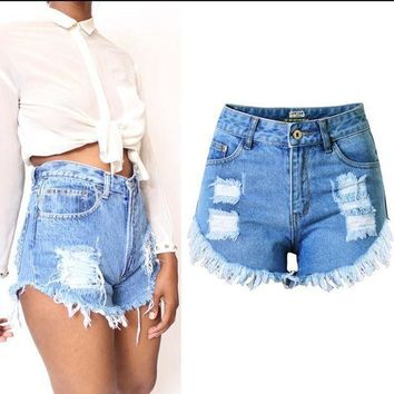 CREYCI7 2017 European American Boyfriend Ripped Jeans Shorts Women Summer Wind Female Blue Denim Shorts Women Worn loose Burr hole jeans