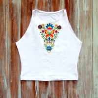 White Boho Crop Top With Embroidered Boho Design-Yoga Top-American Apparel Crop Top