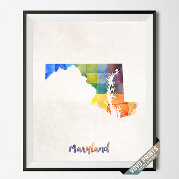 Maryland, Map, Print, Poster, Watercolor, Annapolis, Home Town, Dorm, Art, USA, Painting, States, America, Wall Decor, Watercolour [NO 20]