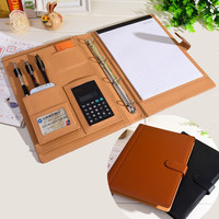 PU leather folder Padfolio multifunction organizer planner notebook ring binder A4 file folder with calculator office supplies