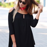 Strappy Cold Shoulder Keyhole Top